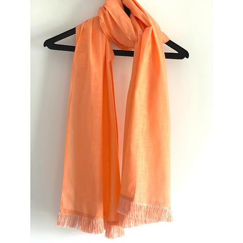 Stole / Scarf - Peach Linen Cotton Flax with tassel trim