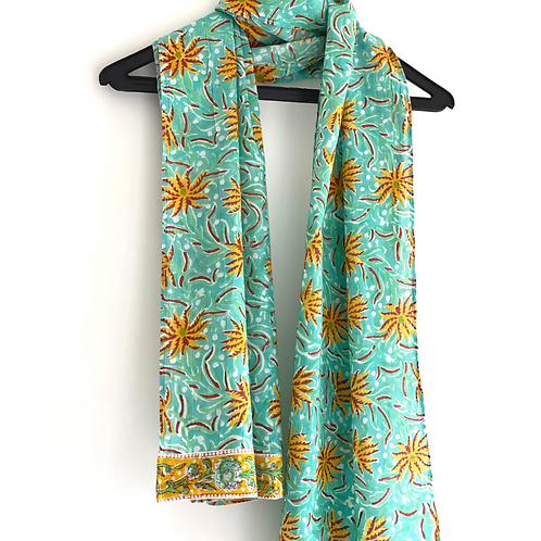 Stole / Scarf - Tropical Green with border Block Printed