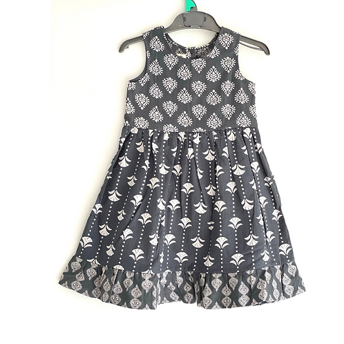 Girls Tier Dress - Hand Block Print Cotton Artisan Dress - Grey and White