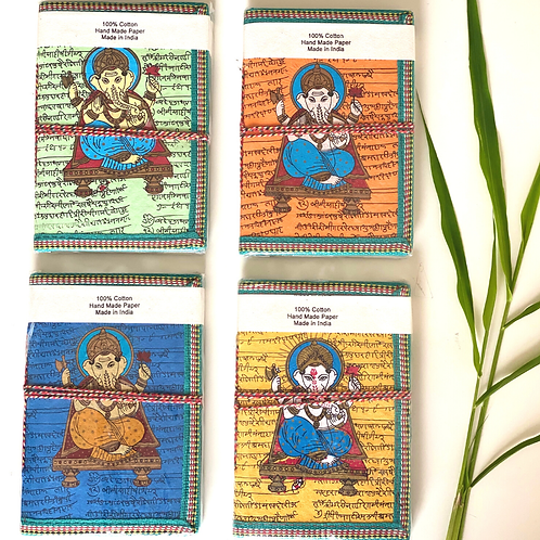 Handmade Paper Journal - Set of 4 Ganesha Cover - Yoga Gift