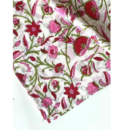 Bandana - Pink white Floral Block Printed Cotton / Headband