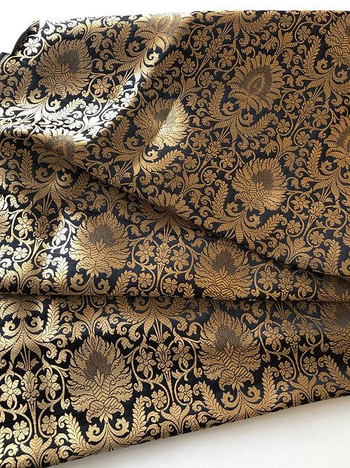 Silk Brocade in Black and Golden, Indian Banarsi Brocade in Kimkhab patter