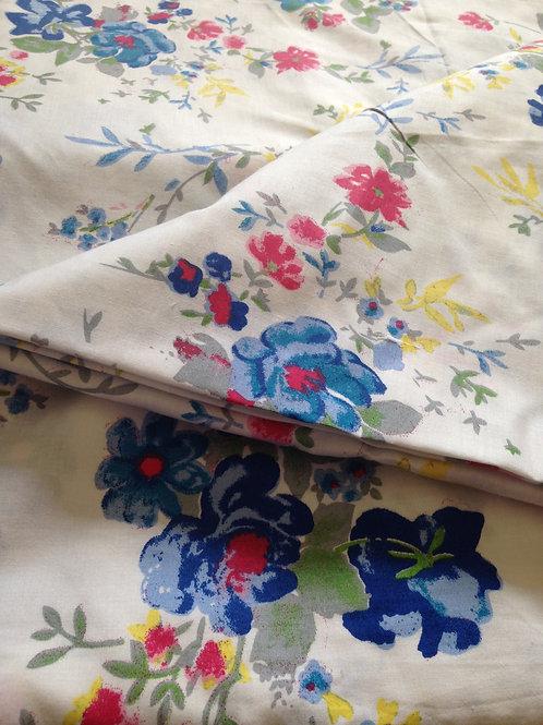Indian Fabric, Flower Garden Print, Indian Cotton, Floral Print, Blue Flowers, P