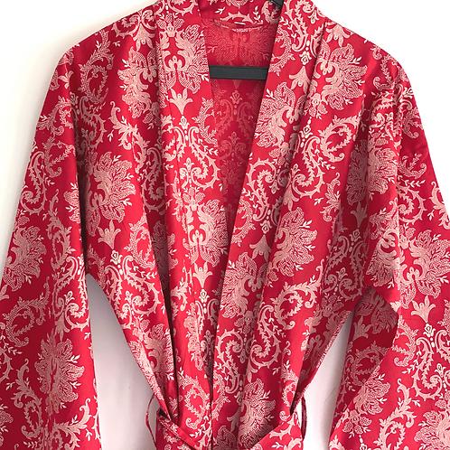 Robe / kimono  - Red baroque Lounge wear + matching bag + mask