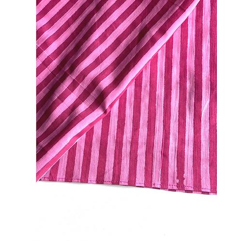 Bandana - Block Print Piink Stripes Cotton/ Table Napkin