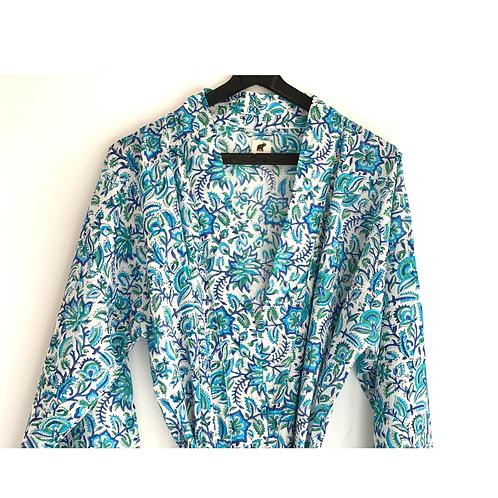 Robe/ Kimono - Blue Floral Block Print / Resort Beach Wear