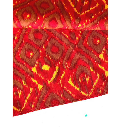 Bandana - Red Cotton with Ikat Print / Face Covering