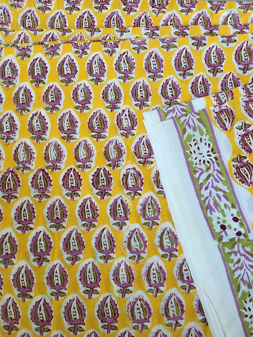 Hand Block Printed Fabric, Hand Printed Indian Cotton, Fabric by the yard, Print