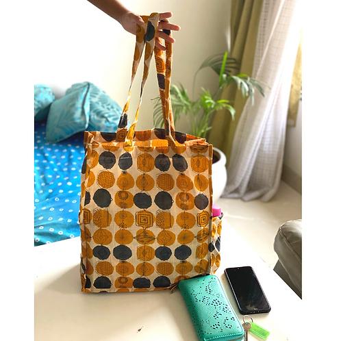 Tote Bag - Large Fabric Bag - Box Gusset - yellow - 2 pocket