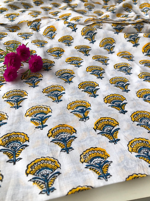 Hand Block Printed Indian Cotton Fabric, Yellow and Blue Flower Fabric, Hand Sta