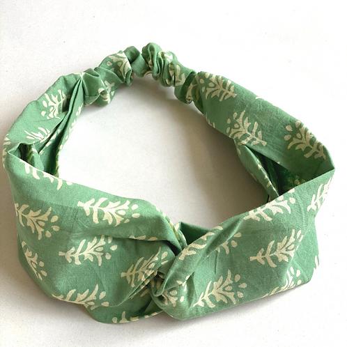 Twisted Turban Headband - Women + Girls - Green White Peace
