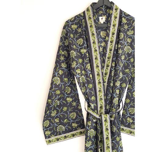 Robe / kimono  - Border Block Print / Beach Wear + bag + mask