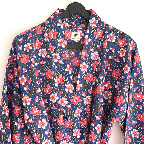 Robe  / kimono - Blue Block Print Lounge wear + matching bag