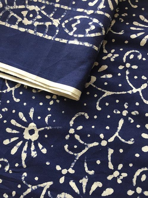 Batik Print, Floral Batik, Indian Cotton, Indian Fabric, Indigo Batik