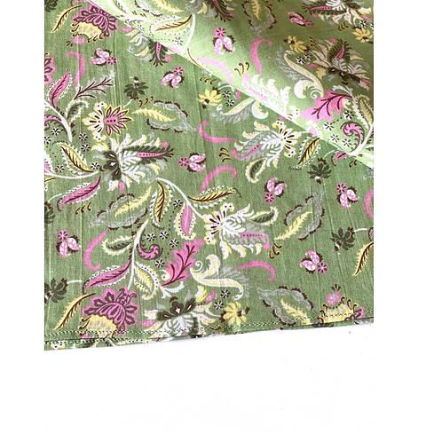 Bandana - Hand Block Printed Cotton Green and Pink