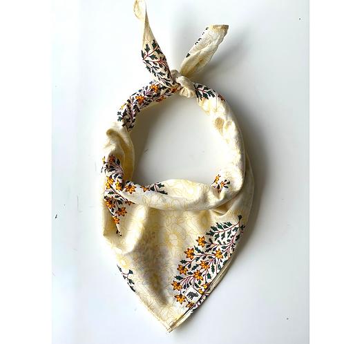 Bandana - Block Print mughal yellow flower Cotton