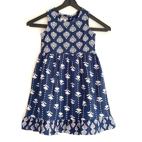 Girls Tier Dress - Hand Block Print Cotton Artisan Dress