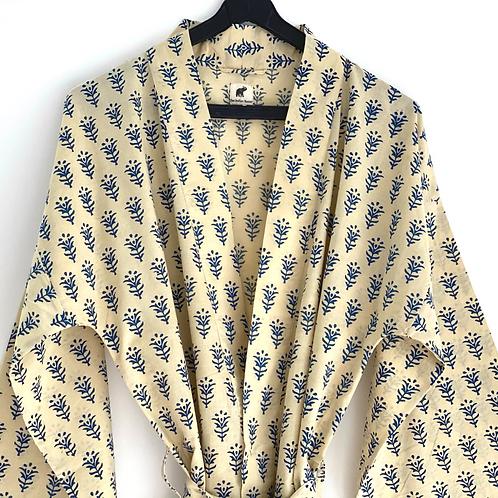 Robe / Kimono - Indigo Peace Block Print/ Resort / Lounge Wear