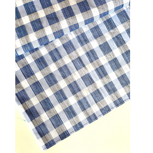 Bandana -  Blue  Plaid Printed Cotton / Headband
