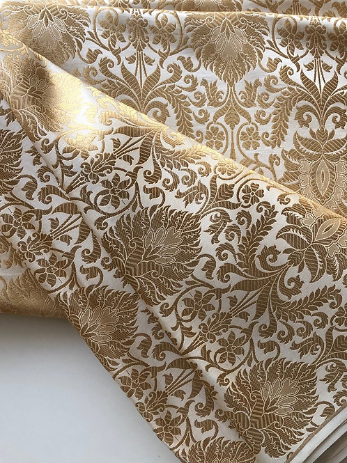 Silk Brocade in White Ivory and Golden, Indian Banarsi Brocade in Kimkhab patter