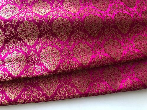 Indian Silk Brocade fabric by the yard, Pink and Golden Banarsi Kimkhwāb Brocade