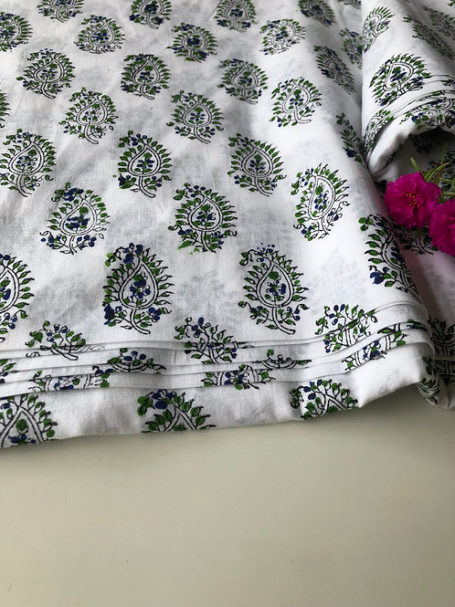copy of Hand Block Printed Indian Cotton Fabric, Yellow and Blue Flower Fabric,