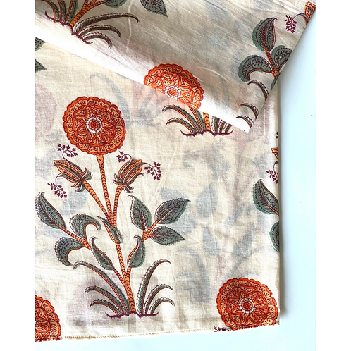 Bandana - Cream Mughal Hand Block Printed Cotton / Headband