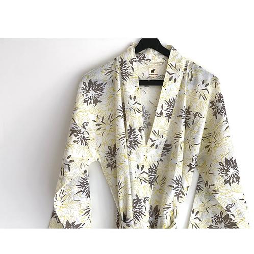 Robe / kimono  - Yellow and Beige all over Print / Beach Wear