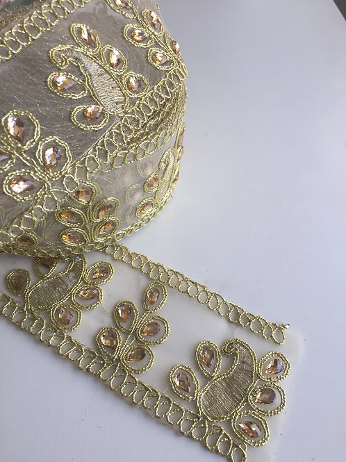 Embellished Lace Trim, lace by the yard, 2 inch lace trim, 5 cm lace trim, trans