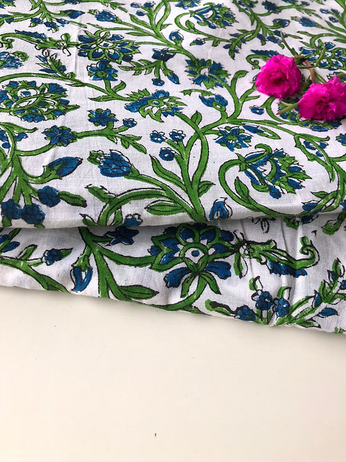 Hand Stamped Fabric, Indian Cotton block print Fabric, Blue and green Bagh print