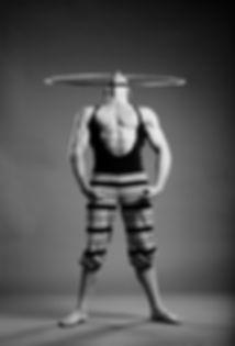 Acrobat hula hoop nose trick black and white | Daniel Sullivan