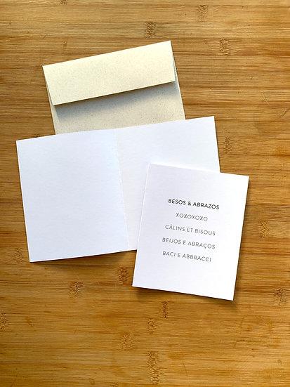 Tarjeta De Saludo Net DYI Besos y Abrazos - 5 Idiomas