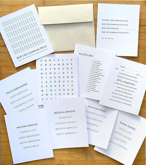 Tarjetas De Saludo Net DIY - Set x 10