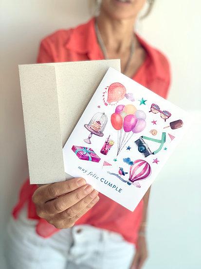 Tarjeta De Saludo Globitos Muy Feliz Cumple