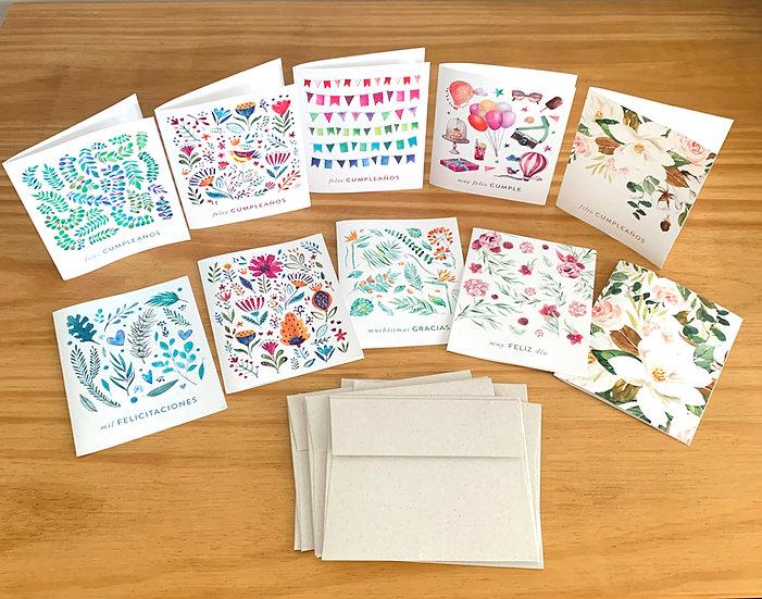 Tarjetas De Saludo Romantic - Set x 10