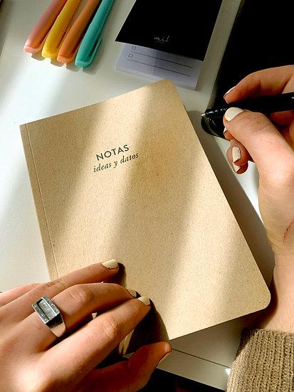 Cuaderno Kraft Notas, Ideas y Datos