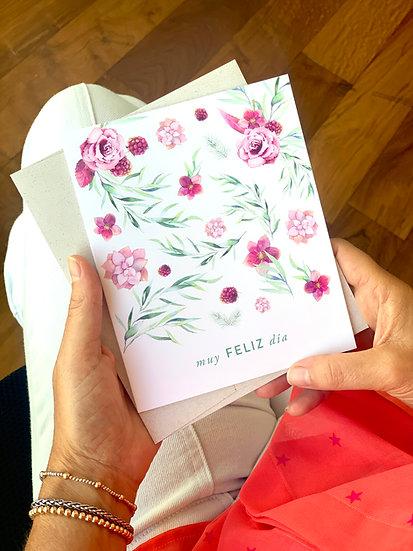 Tarjeta De Saludo Flores Muy Feliz Día