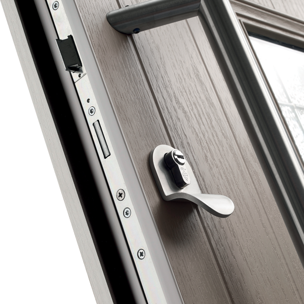Composite door with the lethal night latch