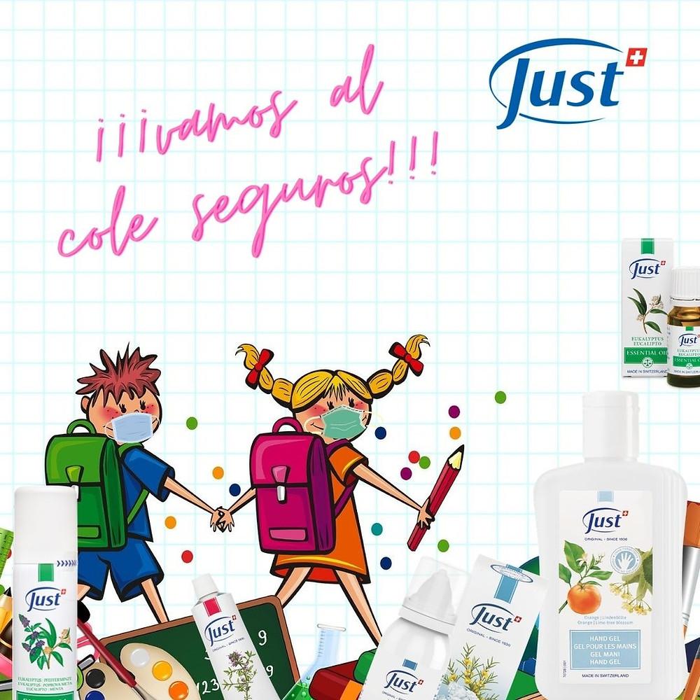 Vuelta al cole segura con los productos desinfectantes de Just Iberia