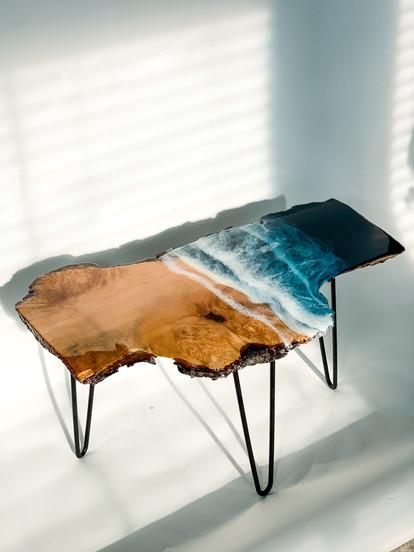 """Where the Sun meets the Sand"" Ocean work on a one of a kind maple slab. (2021)"