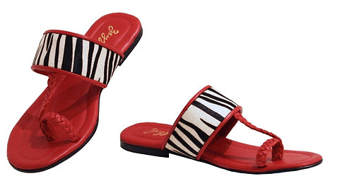Zebra Red Leather - Sandals