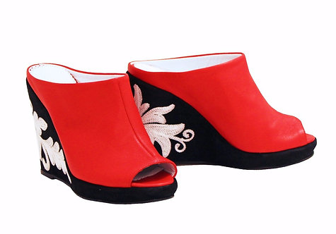 Red Leather - Slip On Wedge