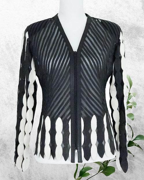 Leather Mesh Short Jackets - Cream/Black