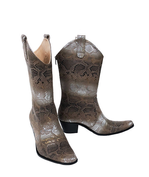 Silver Python Leather - Pull On Cowboys