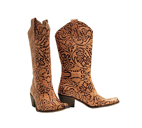 Tan Garden Embossed Leather - Cowboys