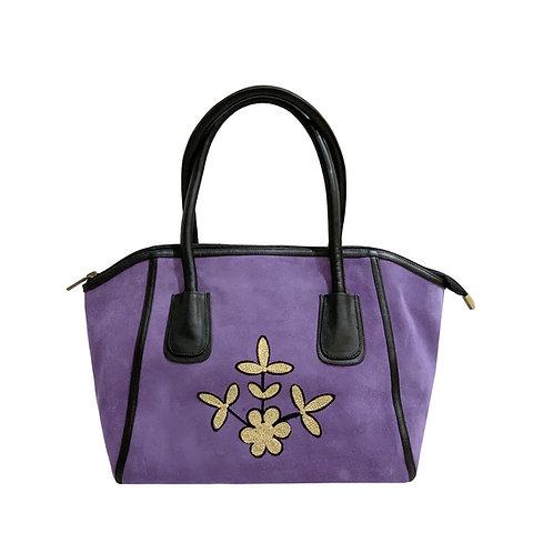 Purple Suede Embroidered Handbag