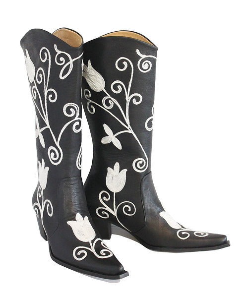 Black Leather White Tulips Embroidered - Cowboys