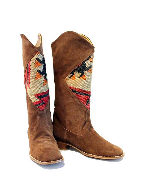 Kilim Brown Suede - Western Pull On Riding