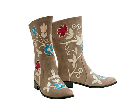 Tan Suede Embroidered - MC Riding