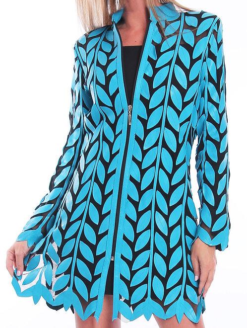 Leather Mesh Jackets - Turquoise